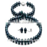 6.5-7mm Pearl Beaded Necklace Jewelry and Earrings with Black Akoya Pearls