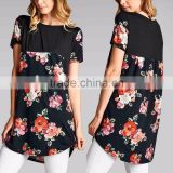 Wholesale Tunic Tops Black Floral Contrast Ladies Tunic Long for Women Custom Made in China