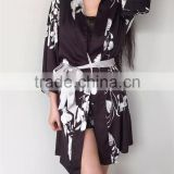 Sexy Girls Kurti Folwer Design Emulation Silk Three Pieces Nightewear Pajamas As Photos