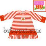 Beautiful pumpkin smocked A-line dress for girl - BB382