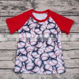 Sue lucky new arrival summer boys clothing baseball printed patchwork T-shirt design bulk wholesale2017