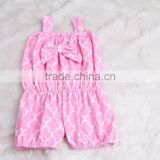 Lovely design quatrefoil baby knit rompers wholesale smocked clothing kids ruffle clothing set clolor baby romper onesie