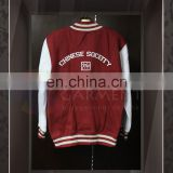 Custom High Quality your own Logo Screen Printing Unisex zip up Red baseball jacket