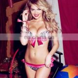Pink Satin Bow Bikini Swimwear
