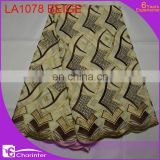 sale well african big lace fabrics LA1078 beige