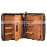 Stylish Zipped Luxury Leather Watch Wallet Case