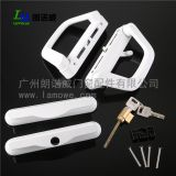 Double style zinc alloy sliding door handle lock with key powder coated for black and white