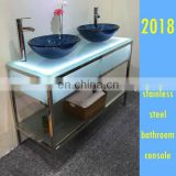 custom hotel guest room vanity console made of stainless chrome polished