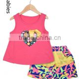 Fashion kids clothing suppliers china pink sleeveless top and print skirt                                                                                                         Supplier's Choice
