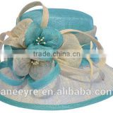 Hot Sale 100% Sinamay Fabric Women Church Hat With Big Flower
