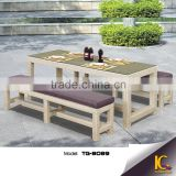 Trade assuranced best sale long table and long chair outdoor bar furniture with glass top