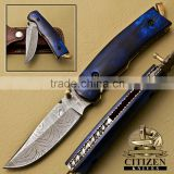 CITIZEN KNIVES, BEAUTIFUL CUSTOM HAND MADE DAMASCUS STEEL FOLDING KNIFE