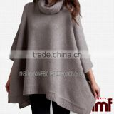 Apricot High Neck Batwing Sleeve Knit Cashmere Sweater/Poncho