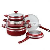8pcs Red Aluminum Non-stick Press Cookware Set Kitchen Used Fry Egg Pizza Pan Skillet Saucepan Cooking Pot Sauce Pot