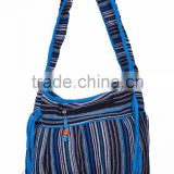 Ladies Stripe Cotton Fabric Bag with Bead