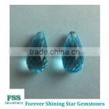 Briolette Cut Natural Swiss Blue Topaz Gemstones 15mm*7.5mm