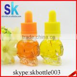 15ml clear skull glass dropper bottle for e liquid e juice essential oil skull glass bottle from chila supplier