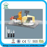 'factory direct' 35x25cm slate cheese board set with knife,folk and soap stone pen combination S- CP-3525RD2A
