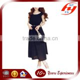 Wholesale 2015 Woman slimming fit dress black Chiffon Style sleeveless long dress with belt