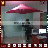ooutdoor use red fabric material wooden beach umbrella with logo