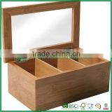 Solid Bamboo Storage Box Tea Box Three Grids Tea Chest