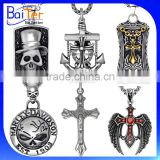 Vintage Mens Gothic Titanium Stainless Steel Cross Pendant Necklace Christian Jewelry Mens Skull Pendant Necklace