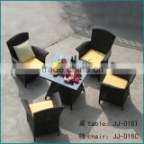 Wholesale rattan wicker furniture square garden table and 4 chairs JJ-016TC