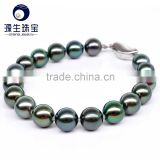 Fashion custom jewelry female bracelets 8-9mm perfect shape seawater Tahitian black pearl bracelet