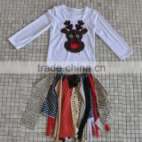 2016 top selling unique girls splicing reindeer christmas clothing sets for wholesale