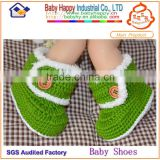 Green color optional hand crochet baby booties for baby