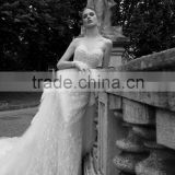 Fashionable wedding dress 2016 long train luxury crystals lace wedding dress DM-069 vestido de noiva wedding dress bridal dress