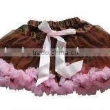 Baby Kids Girls Dancewear Cute Chiffon Tutu Full Pettiskirt Princess Skirt Brown with Light pink