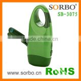 SORBO Outdoor Hand Crank Hot Flashlight with ABS,Dynamo Green LED Torch Light Manufacture