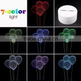 3D Optical Illusion Ballon Night Lamp Night Light 10 Colorful LEDs Ultra-thin Acrylic Light Panel AA Battery or DC 5V