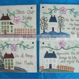 S/4 Vintage house Cement garden wall art