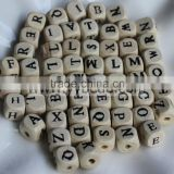 Wholesale 10 MM Mixed Letter Cube Wooden Beads Alphabet Charms For Jewelry Making Loose Spacer Charms