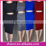 Crop top long sleeve women bodycon sexy suit spandex clubwear tight sweater dress knit skirt