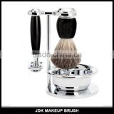 Hign End Stainless Steel shaving stand and bowl beard brushes Metal and plastic handle badger hair shaving brush set with bowl