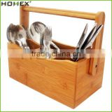 Modern Hot Sale Bamboo Cutlery Caddy Holder With Handle/Kitchen Utensil Caddy/Homex_Factory