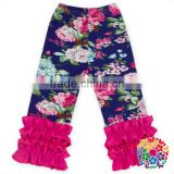 Navy Floral Printing 3/4 Pants Toddler Girl Floral Sew Sassy Icing Pants Girls Ruffle Pants