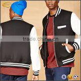Ecoach new arrival bamboo jacket faux leather sleeve plain blank custom varsity jacket for men