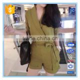 Hot Sales Half Sleeves Linen Formal Tailored Romper Jumpsuit For Women