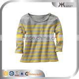 100 % cotton Button Round neck Long sleeve yelllow strip t shirt for infant Kid girls Spring Apparel