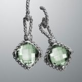 Sterling Silver Jewelry 11mm Prasiolite Cushionon Point Earrings(E-087)