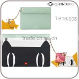 New super design printed pattern saffiano leather card holder with key ring customed leather credit card holder