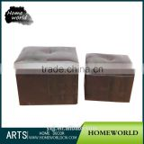 Practical modern living room brown clothing storage Ottoman leather stool