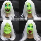 Best selling green halloween latex mask Luminous long hair latex ghost mask sale scary mask latex