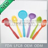 6 PCS/Set Food Grade colorful nylon utensil set / nylon kitchen tools with mesh / net bag