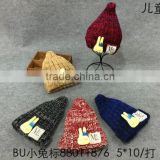 Lovely Rabbit Applique LOGO Label Sewed Pointed Boys Girls Winter Knitted Hats Beanie