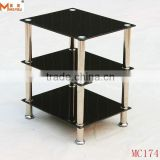 3 Tiered Black Tempered Glass corner Table